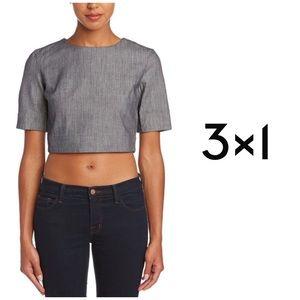 3x1 NYC Structured Zip Back Grey Cotton Crop Top